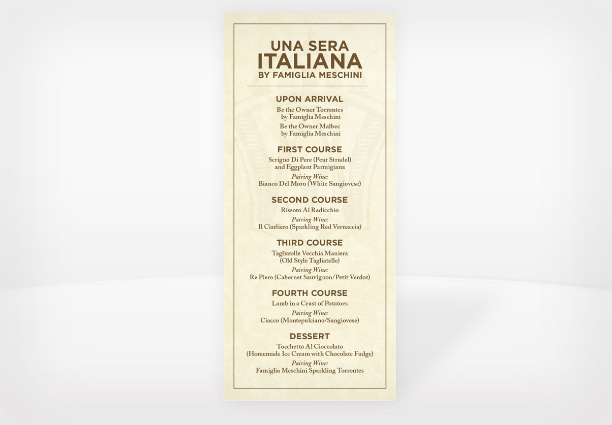 DepartmentD.com - Una Sera Italiana Menu